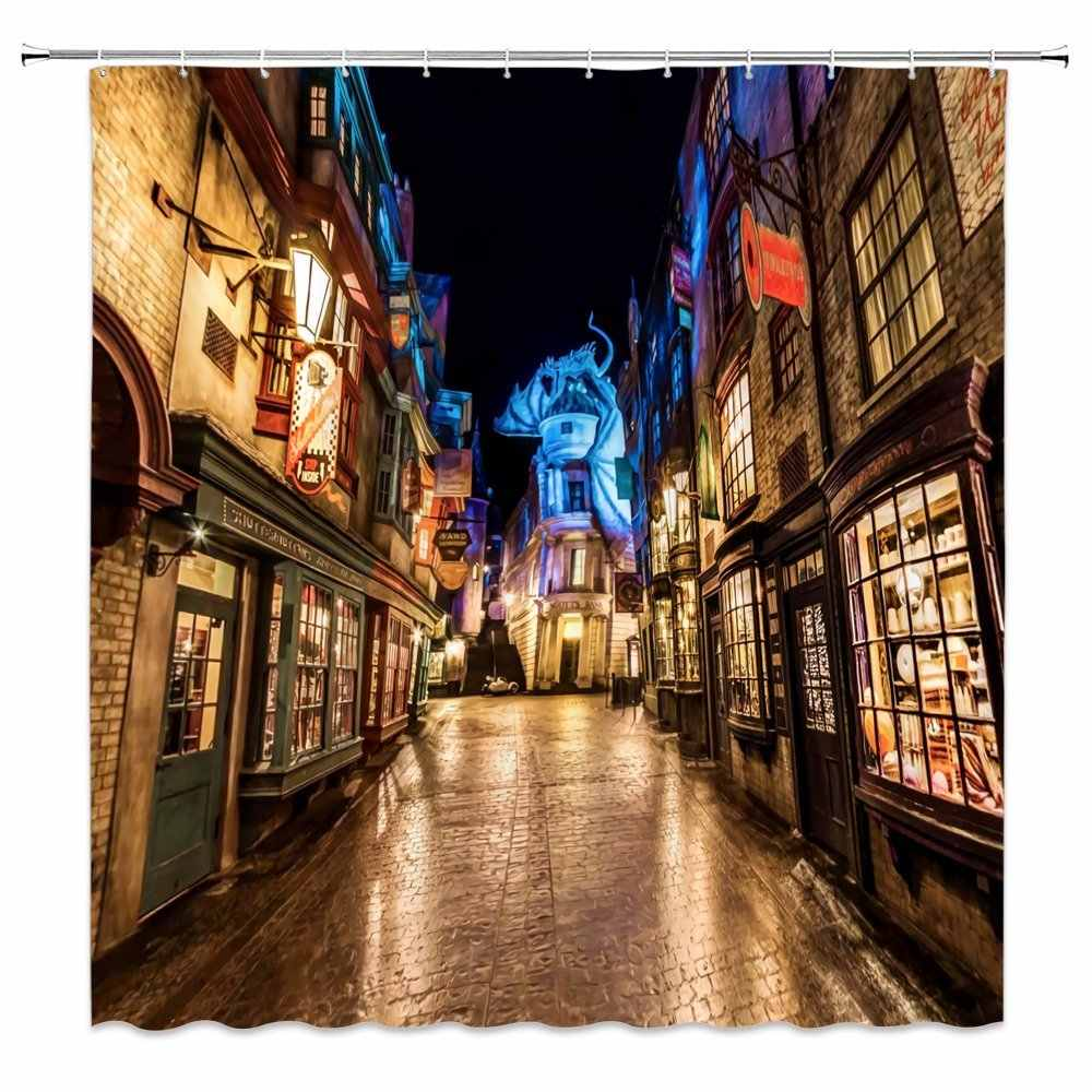 Cortina de ducha de HARRY Diagon Alley decoración noche calle decoración niños cortina