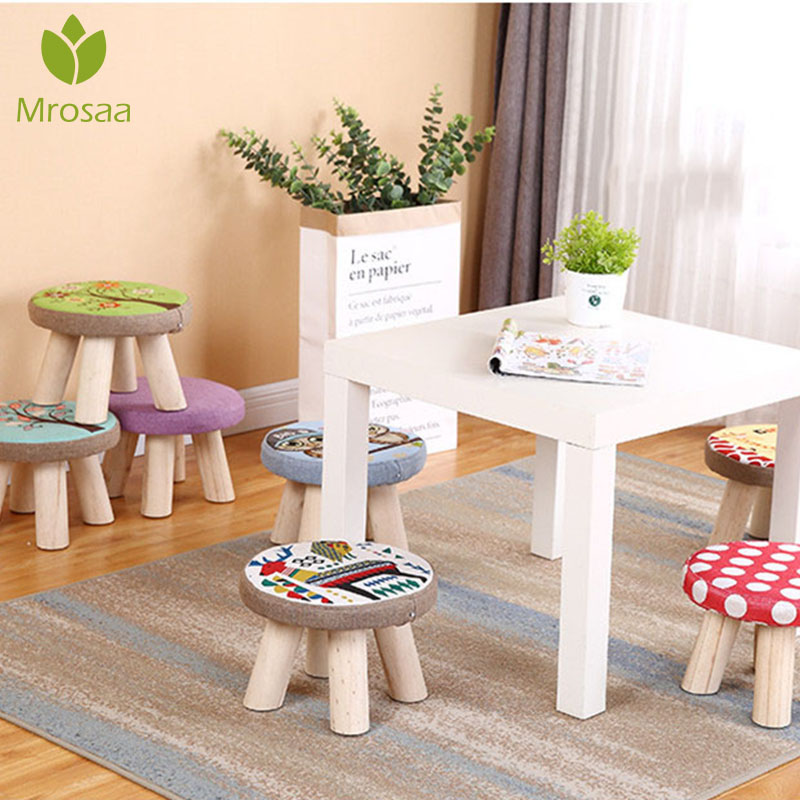 Nordic Footrest Seat Stool With Removable Cover 3 Legs Modern Luxury Upholstered Solid Wood Footstool With Ottoman Pouf