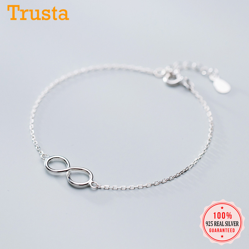 Trustdavis New Product Minimalist 100% 925 Sterling Silver Sweet Infinite Bracelet For Fashion Women Wedding Jewelry Gift DS1900