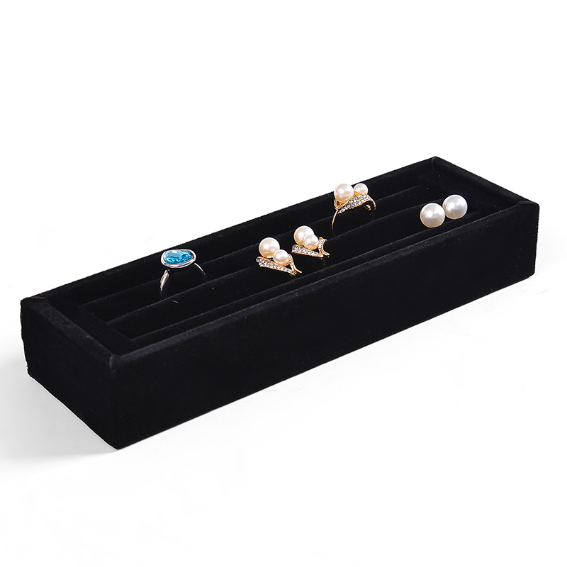 Velvet Ring Earrings Display Tray Slot Fashion Jewelry Cufflinks Organizer Holder Case Box Showcase Ring Earring Jewelry Display
