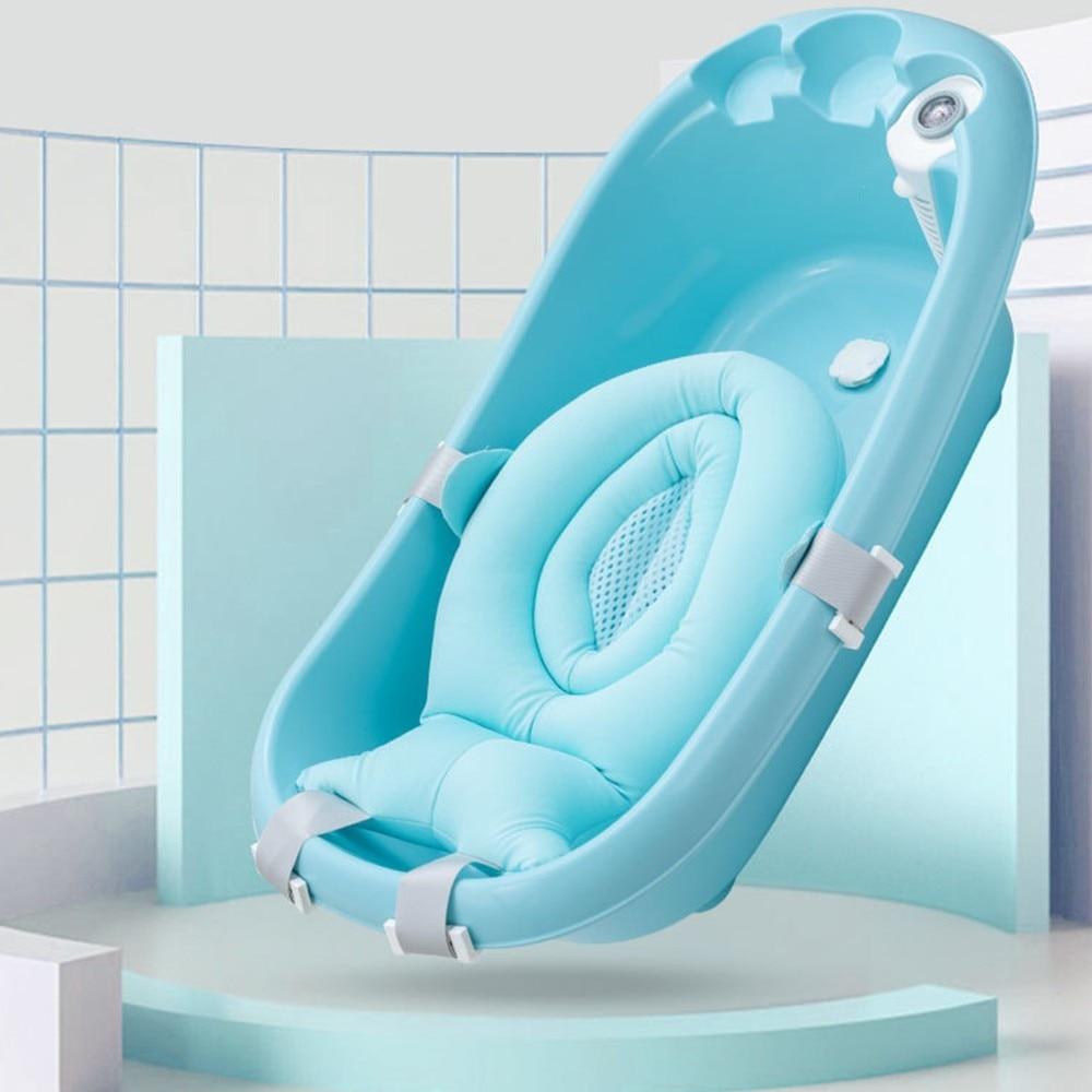 Cartoon Kids Bath Tub Baby Shower Pad Non-Slip Bathtub Mat Newborn Safety Security Bath Support Cushion Foldable Soft Pillow