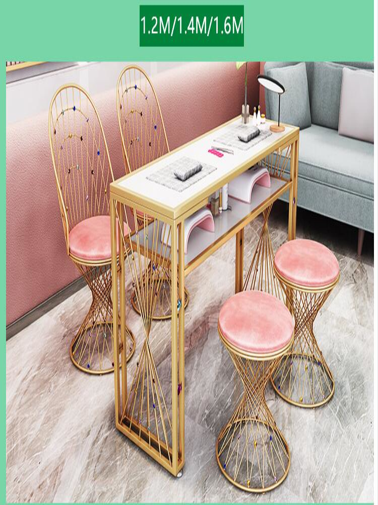 Купить с кэшбэком Net Red Tyrant Gold Manicure Table Chair Set Single Double Simple Modern Beauty Shop European Diamond Manicure Table