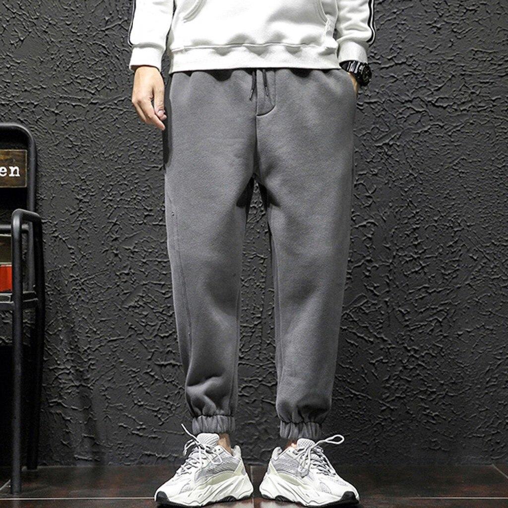 Men Pants Winter Casual Gym Pockets Sports Solid Harem Elastic Waist Trousers Pants High Quality Men Long Pants Plus Size #35