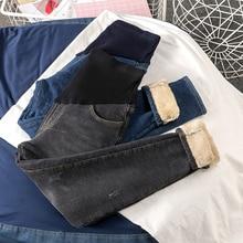 602# Winter Thick Warm Plus Velvet Denim Maternity Jeans Adjustable Belly Pants Clothes for Pregnant Women Pregnancy Trousers