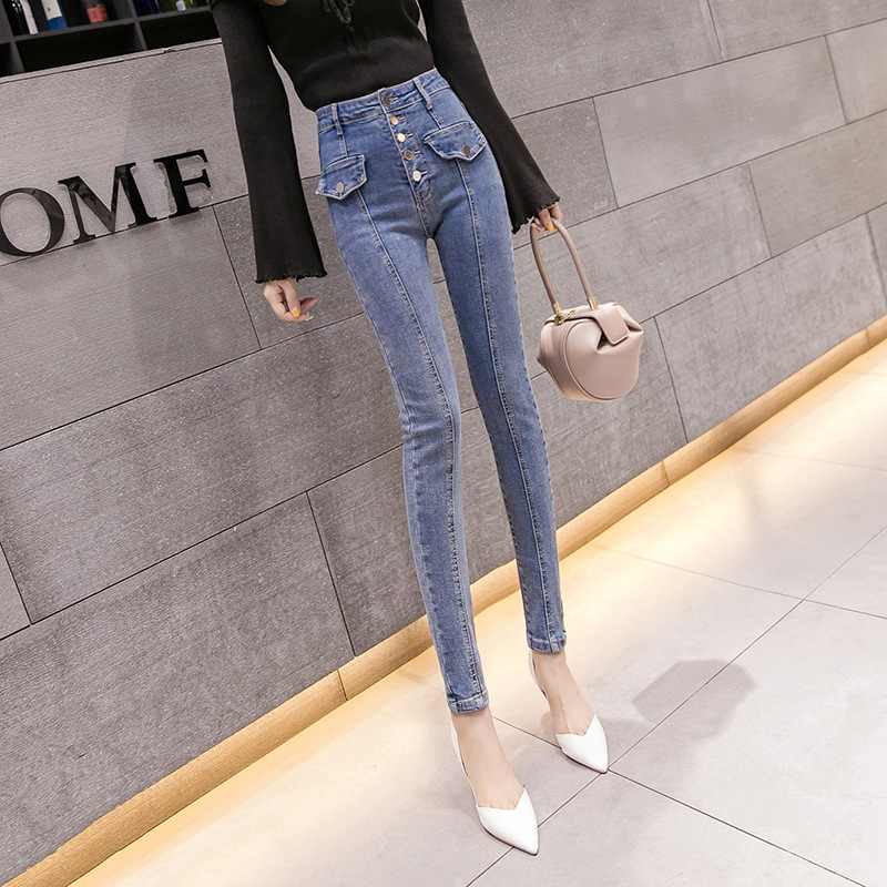 Online Celebrity High-waisted Elasticity Jeans Women's 2019 Spring And Autumn New Style Korean-style-Style Single-Breasted Slimm