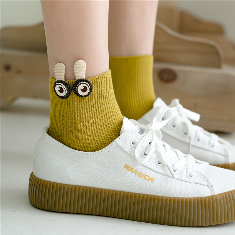 SP&CITY Women Lovely Cartoon Big Eyes Harajuku Socks Solid Casual Joker Cotton Socks For Female Youthful College Style Sox