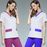 [SET] New Style Color Blocking Medical Scrubs Women's Fashion V Neck White Nurseing Scrub Top and Pants Nursing Uniform