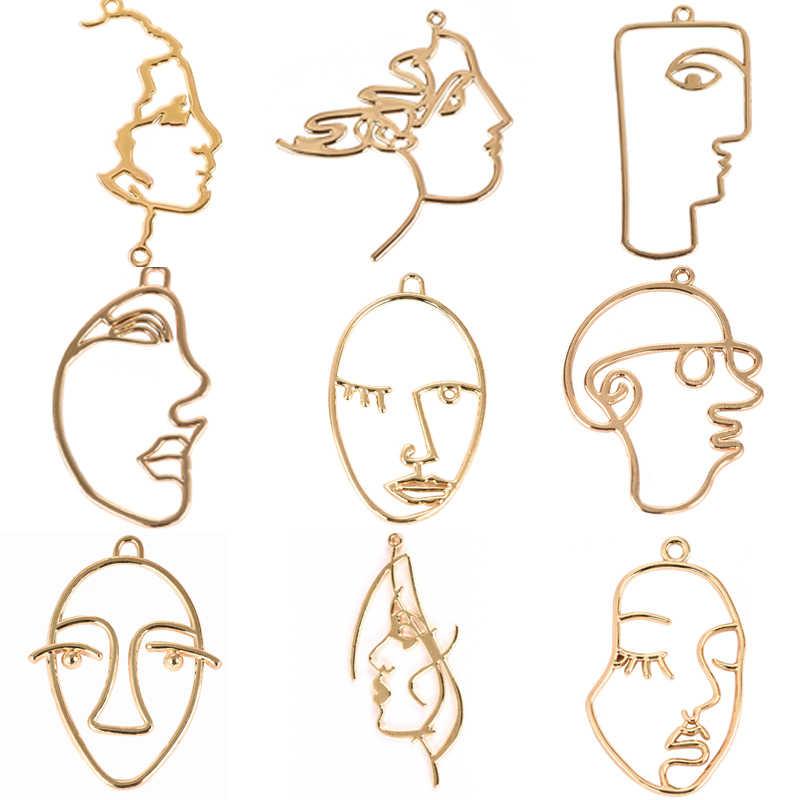 10 قطعة مزاجه مجردة وجه الإنسان الجوف Charms الذهب ل قلادة القلائد النتائج مجوهرات أقراط مكون
