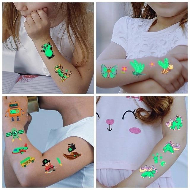 Tattoo Stickers Luminous Child Kid Temporary Fake Tattoos Glow Paste on Face Arm Leg for Children Body Art Mermaid Sticker 3
