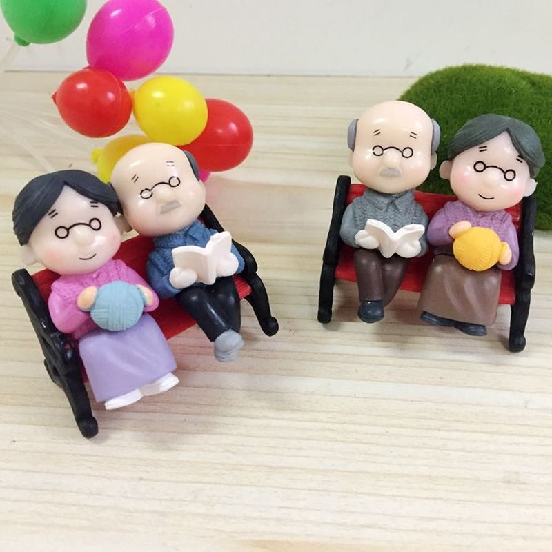 Mini Fairy Doll Chair Book Figures Couple Garden-Ornament Kawaii Gift Grandpa Old DIY title=