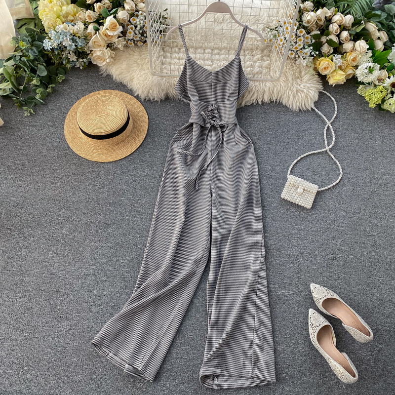 Vintage 2020 Sexy Plaid Print V Neck Jumpsuit Spaghetti Strap Summer Full Length Women Slim Waist Tie Playsuit Lace Up Romper