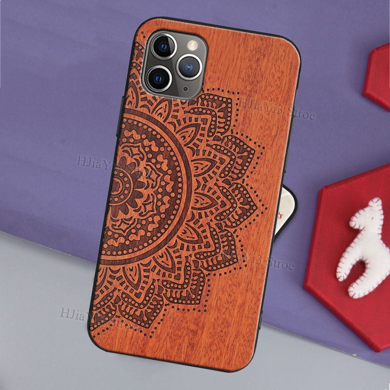 Mandala Floral Wooden Pattern Case For iPhone 12 Pro Max