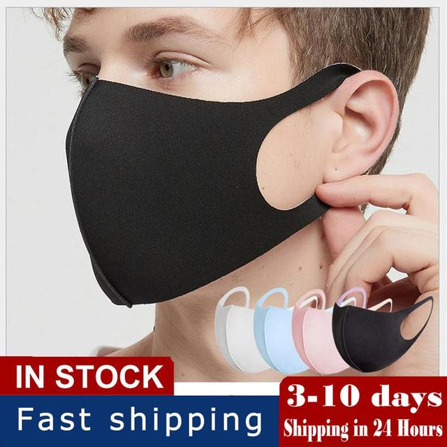 5pcs Masks Men and Women Dustproof Breathable Anti-fog and Cold-proof Warm Black Polyurethane Korean Tide Sponge Can Be Cleaned 1
