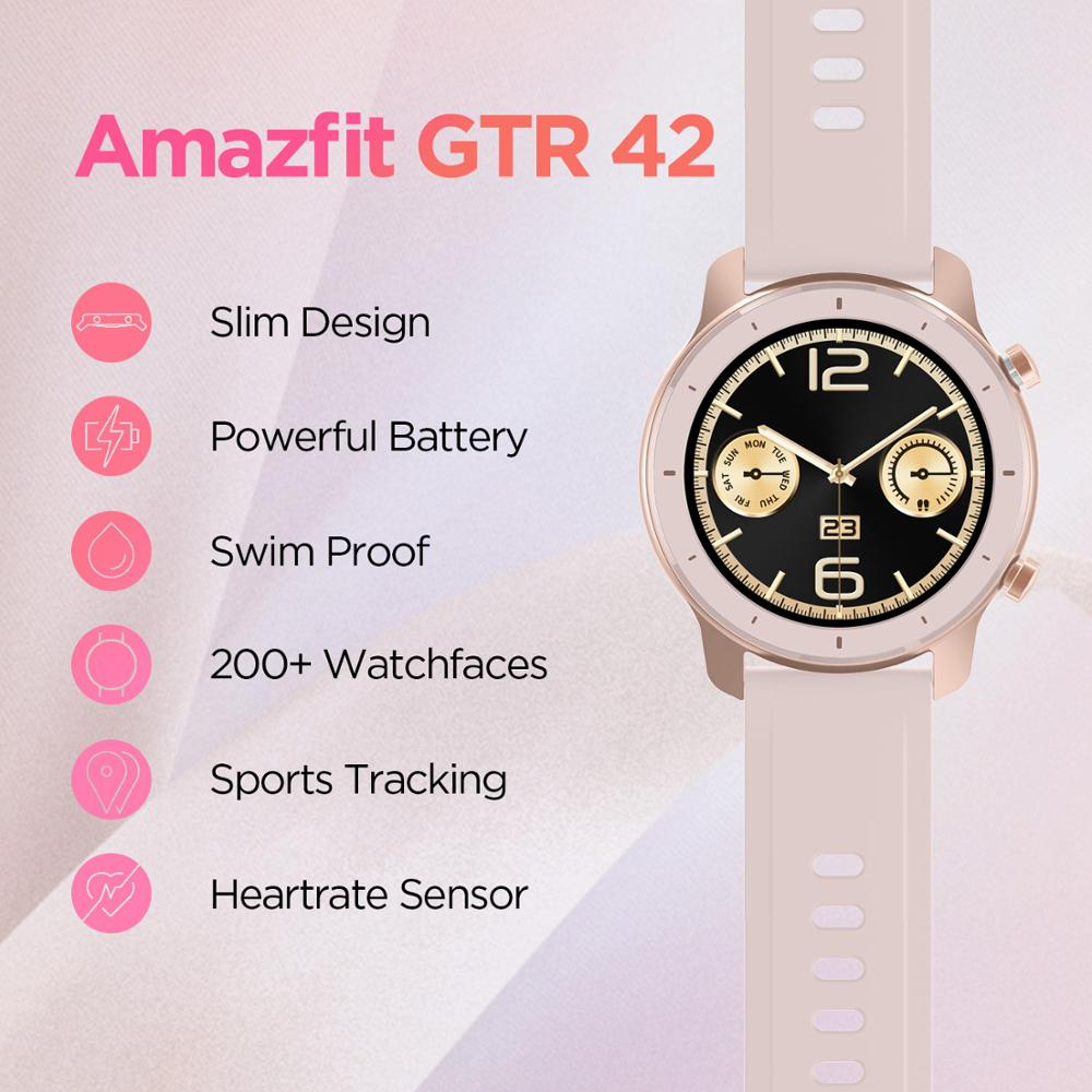 In Stock Global Version New Amazfit GTR 42mm Smart Watch 5ATM women's watches 12Days Battery Music Control For Android IOS