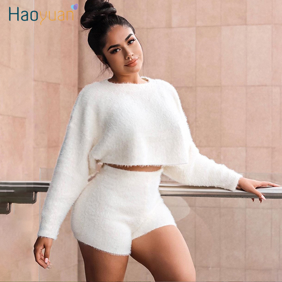 ZOOEFFBB Fleece Teddy Hoodies Tracksuit Sweat Suits Women Matching Sets Fall Winter Outfits Crop Top And Shorts Two Piece Set