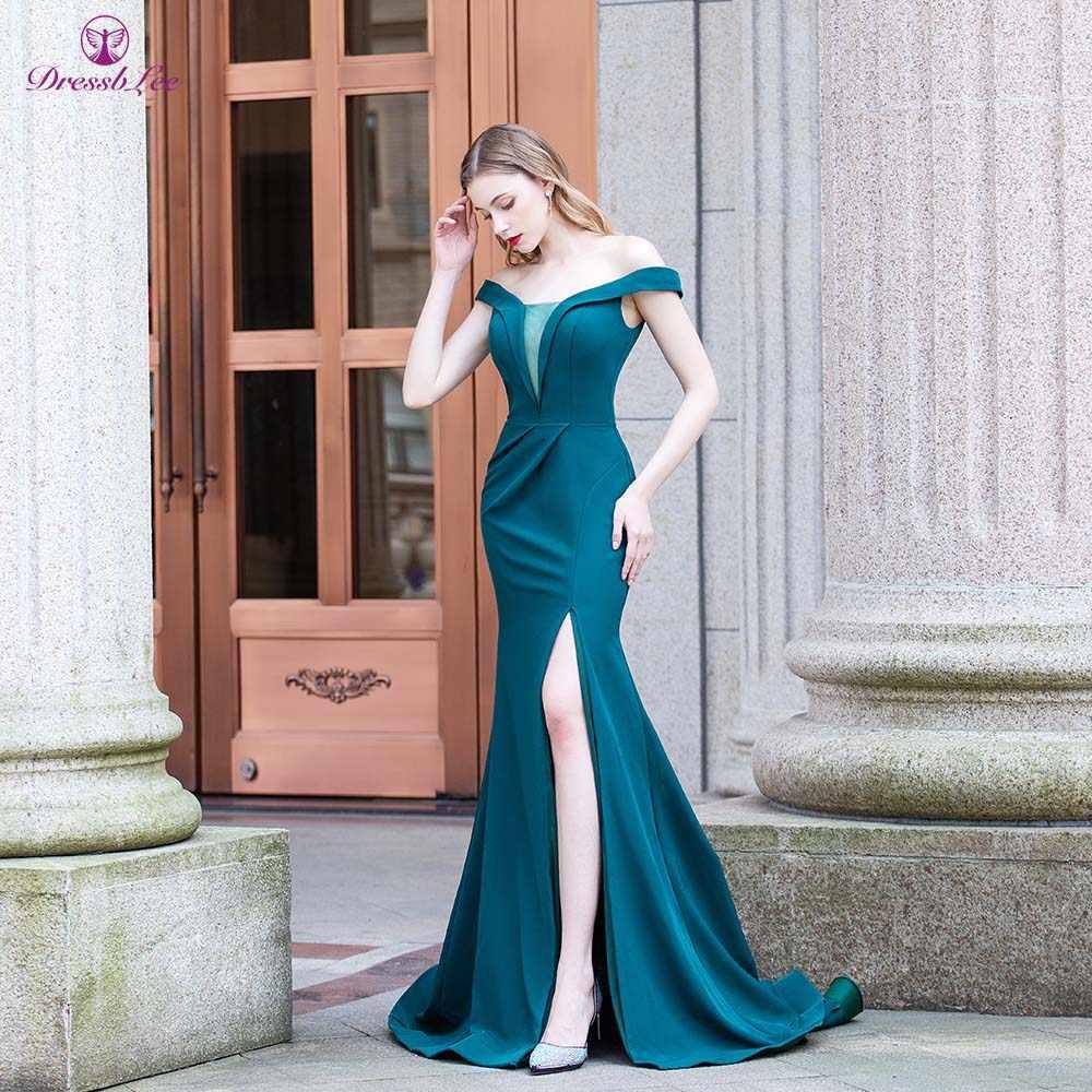 Vestido De Festa Della Sirena Abiti Da Ballo 2020 raso Al Largo Della Spalla Verde del Vestito Da Sera Elegante Lungo Abito Formale robe de soiree