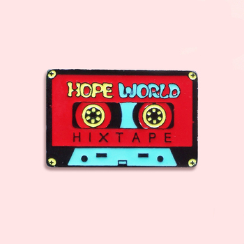 Hope World Enamel Pin Red Hix Tape Badge Brooch Denim Clothes Fashion Music Jewelry Gift For Friends Music Lover red coat brooch pill drug capsule pattern red movie ticket enamel pin backpack clothing denim badge cool hand hug heart brooch