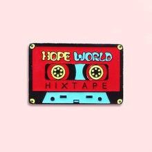 Эмалированная булавка hope world красная бейдж лента брошь джинсовая