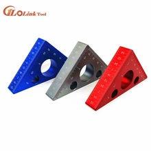 Règle d'angle en alliage d'aluminium 45 degrés, règle triangulaire métrique, atelier de menuiserie, outil multifonctionnel carré