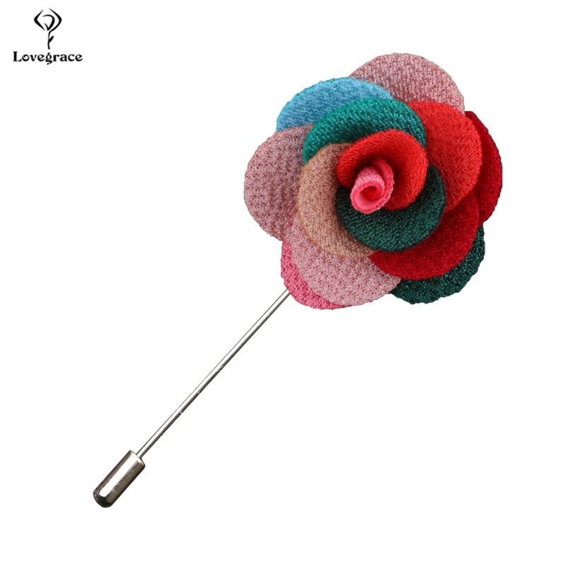 Lovegrace Boutonniere Men Brooch Pins Wedding Groom Buttonholes Groomsmen Rose Flower Prom Wedding Party Dress Decor Accessories