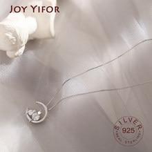 Ожерелье из серебра 925 пробы с инкрустированным цирконием Луной и котом, простой темпераментный милый кулон, Женская цепочка до ключицы, мод...