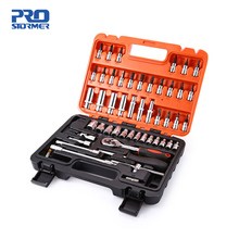 PROSTORMER 53pcs 1 4 #8243 Socket Ratchet Wrench Set Car Repair Tool Case Precision Sleeve Hardware Kit Hand Tool Sets cheap Woodworking Combination Wrenches Sockets PTHT3039 28*21*6cm Household Tool Set