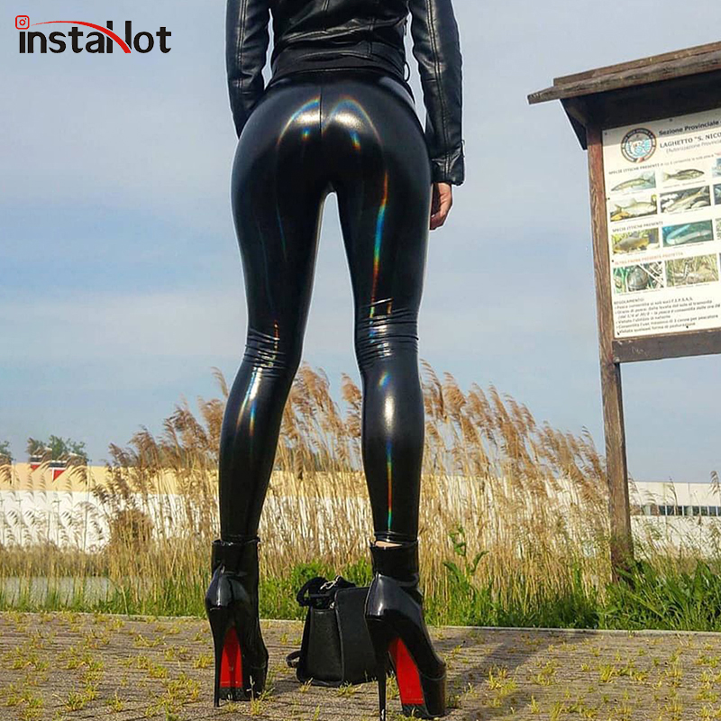 InstaHot PU Patent Leather Colorful Shiny Leggings Women Black Elastic Skinny Faux Leather Pencil Latex Pants Casual Trousers