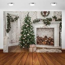 Yeele Brick Wall Christmas Holidays Tree Firewood Baby Photography Background Customized Photographic Backdrops for Photo Studio