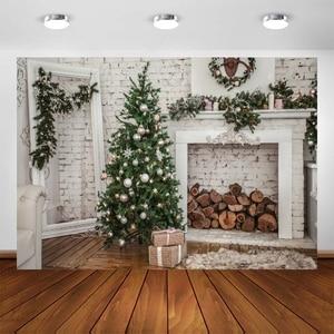 Image 1 - Yeele Brick Wall Christmas Holidays Tree Firewood Baby Photography Background Customized Photographic Backdrops for Photo Studio