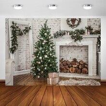 Yeele brique mur noël vacances arbre bois de chauffage bébé photographie arrière plan personnalisé arrière plans photographiques pour Studio Photo