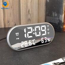 Sıcaklık göstergesi HD LED ekran arkadan aydınlatmalı elektronik saat masaüstü saat ayna dijital alarmlı saat saat erteleme masa saatleri