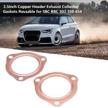 Universal 3 Bolts copper Exhaust Pipe Flanges Gasket 2.5 Inch Hole Header Down Manifold Collector
