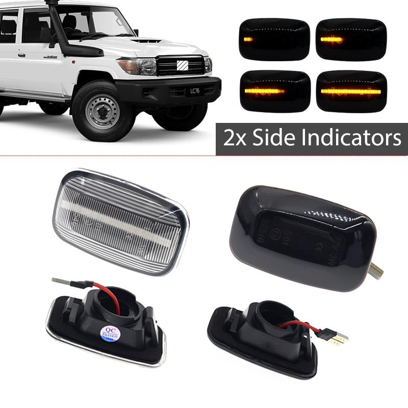 2 шт. струящийся светодиодный боковой маркер указатели поворота Индикатор мигалки лампы для Toyota Landcruiser Land Cruiser 70 80 100 серии