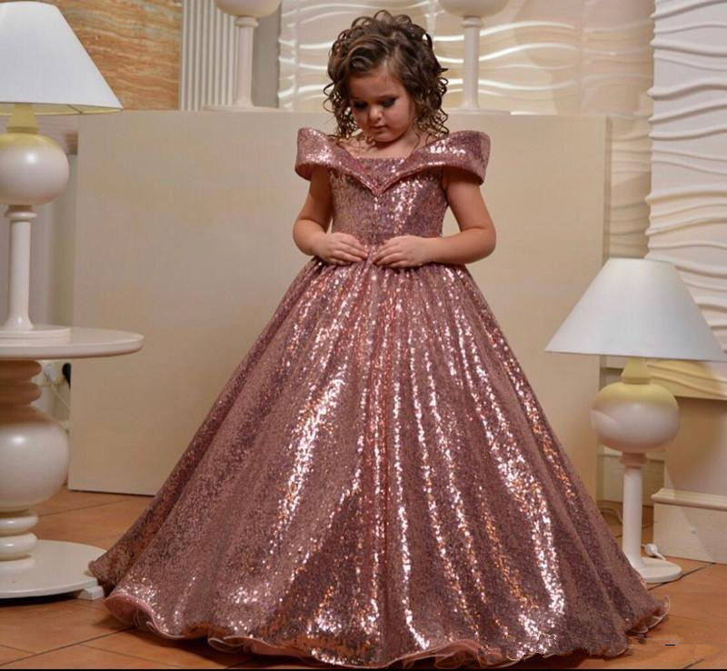 2020 Off The Shoulder Flower Girls Dresses For Wedding Rose Gold Sequins Puffy First Communion Dress Girls Pageant Gown
