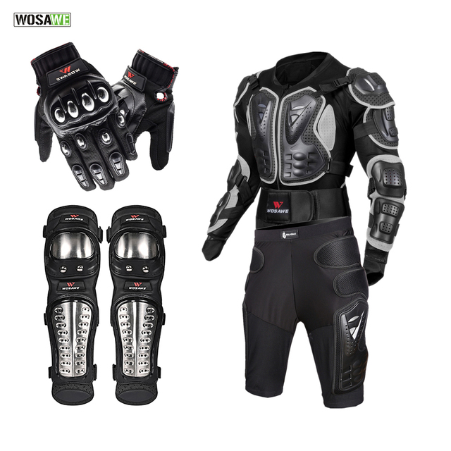 WOSAWE Off Road Motorcycle Armor Alloy Stainless Steel Racing Protective Gear Motorcycle Jacket+Shorts Pants+Knee Pads+Gloves