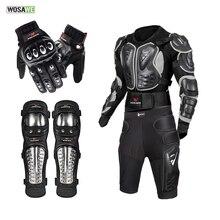 WOSAWE מכביש אופנוע שריון סגסוגת נירוסטה מרוצי ציוד מגן אופנוע מעיל + מכנסיים קצרים מכנסיים + הברך רפידות + כפפות
