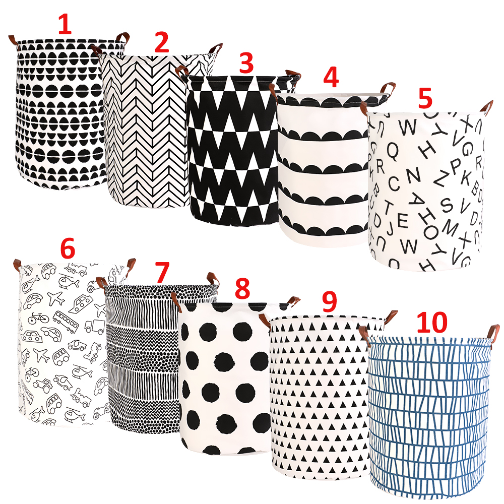 1pc Folding Laundry Basket Round Storage Bin Bag Large Hamper Collapsible Clothes Toy Basket Bucket Organizer Large Capacity