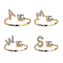 A-Z Letter Gold Color Metal Adjustable Opening Ring Initials Name Alphabet Female Creative Finger Rings Trendy Party Jewelry cheap rinhoo CN(Origin) zinc Alloy Women Rhinestone Wedding Bands GEOMETRIC Other All Compatible RI17Y121M-A Tension Setting Fashion