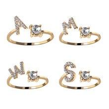 A-Z carta de oro de Metal de Color de anillo con apertura ajustable iniciales del nombre alfabeto mujer creativa anillos de dedo de moda joyería