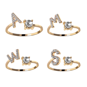 A-Z Letter Gold Color Metal Adjustable Opening Ring Initials Name Alphabet Female Creative Finger Rings Trendy Party Jewelry