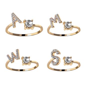 A-Z list złoty kolor Metal regulowany pierścień otwierający inicjały nazwa alfabet kobiece kreatywne pierścienie Trendy biżuteria Party tanie i dobre opinie rinhoo CN (pochodzenie) Ze stopu cynku Kobiety Rhinestone Obrączki ślubne GEOMETRIC Other Zgodna ze wszystkimi RI17Y121M-A
