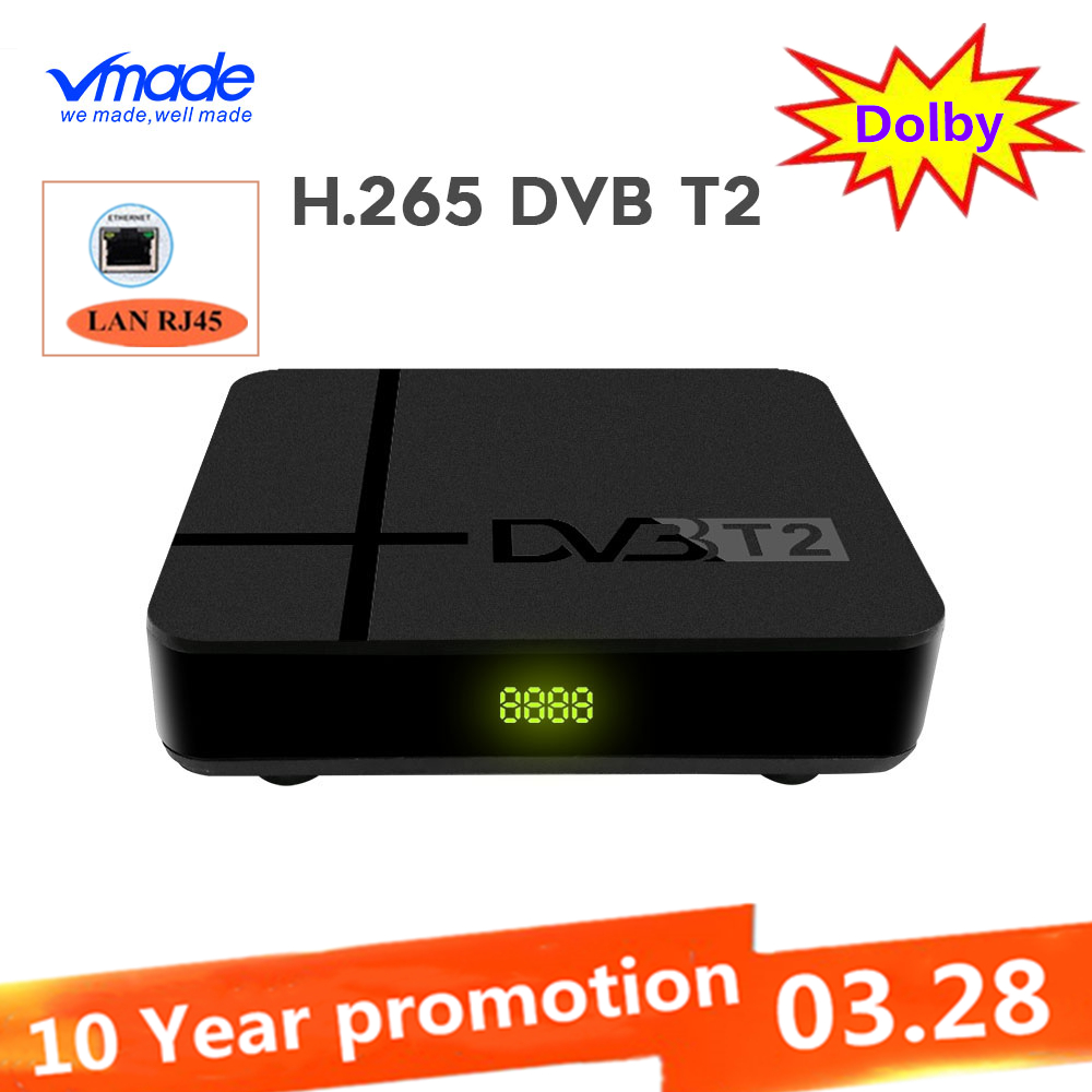 DVB-T2 TV Tuner Terrestrial Receiver Full HD 1080P Decoder TV Tuner Support Have Network H.265 Dolby YOUTUBE IPTV Set Top Boxes