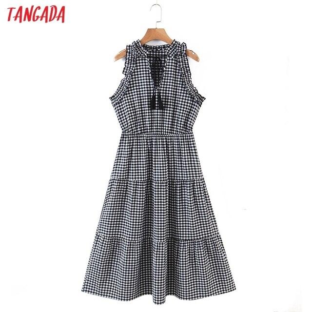 Tangada 2021 Fashion Women Plaid Print Tassel Dress Sleeveless Female Casual Midi Dress 8H72 1
