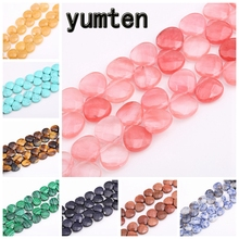 Yumten Oval Rose Quartz Beads 13mm*13mm Crystal Bead Natural Agate Chalcedony Lapis Lazuli Rainbow Jewelry Making Hand Necklace