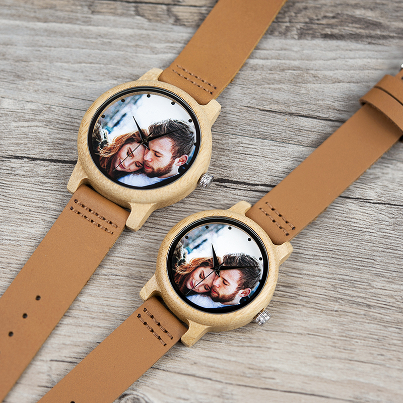Image 4 - BOBO BIRD Couples Wood Watch Personal Photo Printing Wristwatch Picture Print Customized Clock Unique DIY Gift For Friend/LoverLovers Watches   -