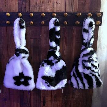 Flower Faux Fur Bag Women Handbags Cow Zebra Pattern Plush Tote Bags for Women 2021 Brands Designer Clutch Women Bag Phone Purse