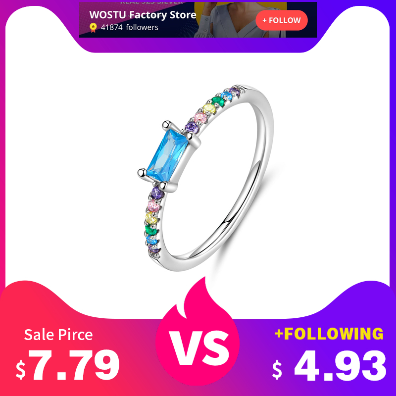 WOSTU Authentic 925 Sterling Silver Colorful Rings For Women Unique Rainbow With ReFNangle Blue Zircon Rings Jewelry FIR590
