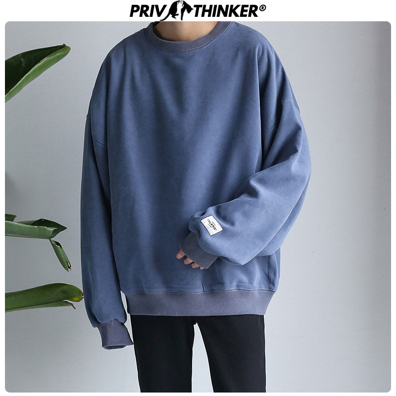 Privathinker Mens Cotton Thicken Warm Sweatshirts Men Loose Autumn Winter Pullover Hoodies Male Fashion O-Neck Colorful Clothes