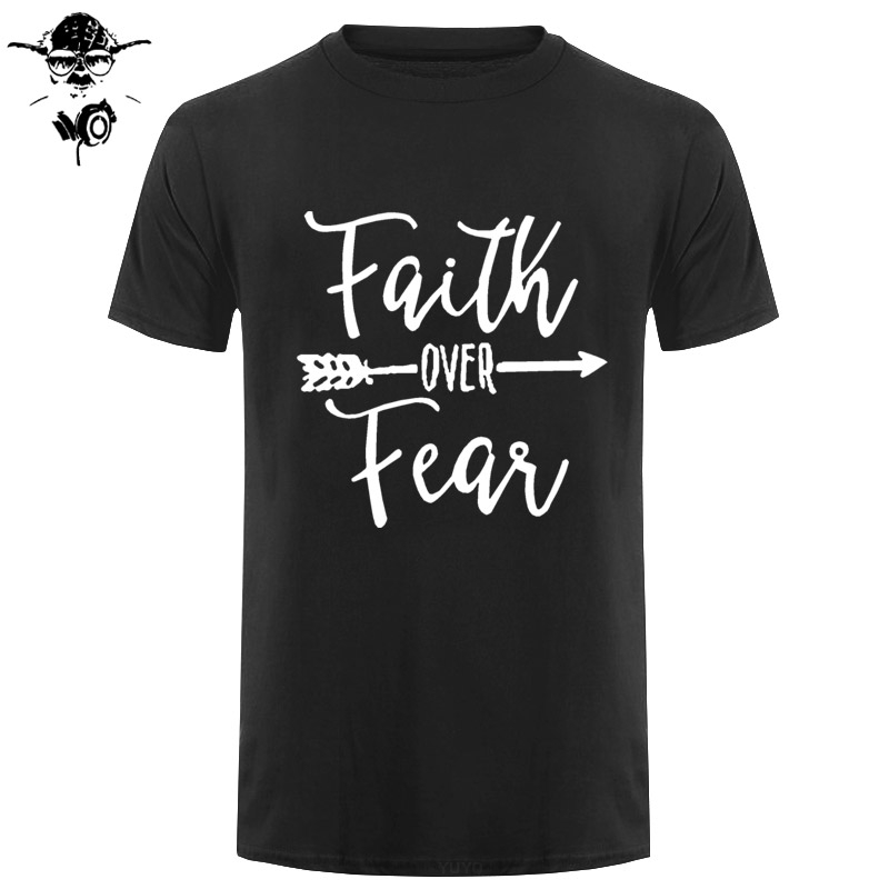 Faith Over Fear Arrow T Shirt Men Women Short Sleeve Crewneck Streetwear Casual Harajuku Cotton T-shirt Tshirt Summer Tops Tee