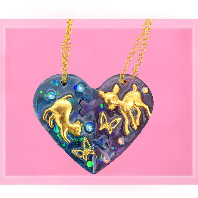 DIY Silica Gel Crystal Epoxy Couples Pendant Mould Epoxy New Products Heart Pendant Heart Lock